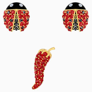 lisabel-pierced-earrings-set--red--gold-tone-plated-swarovski-5498791