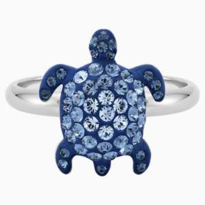 mustique-sea-life-turtle-ring--small--blue--palladium-plated-swarovski-5535436